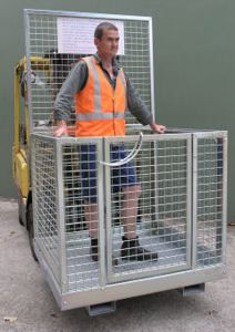 Picture of Forklift Safety Cage Assembled with Mesh Sides